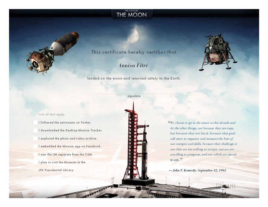 a critique of we choose the moon an interactive website about the apollo 11 mission Apollo 11's 40th anniversary is this week, so we've taken a look at several  in  order to complete your mission, you'll need to beat all seven levels  we  choose the moon: the interactive site is second to none when it comes.