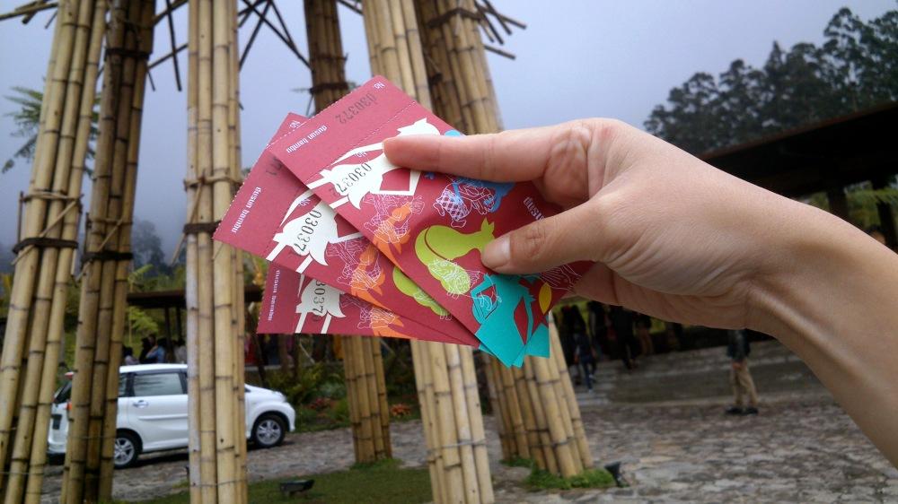 The entrance ticket, 10,000 IDR per person/car