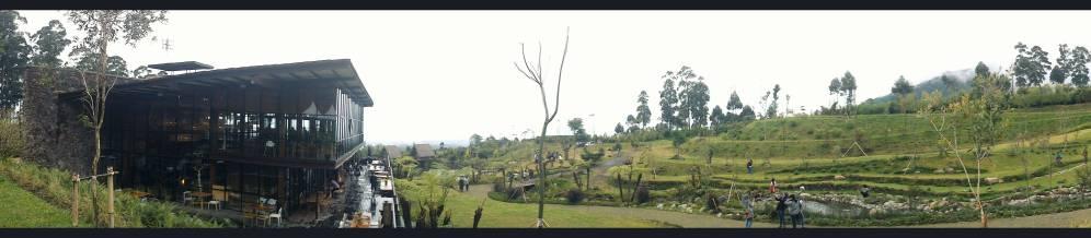 panoramic view from behind Cafe Burangrang
