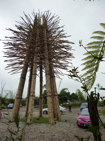 the bamboo statue at the entrance