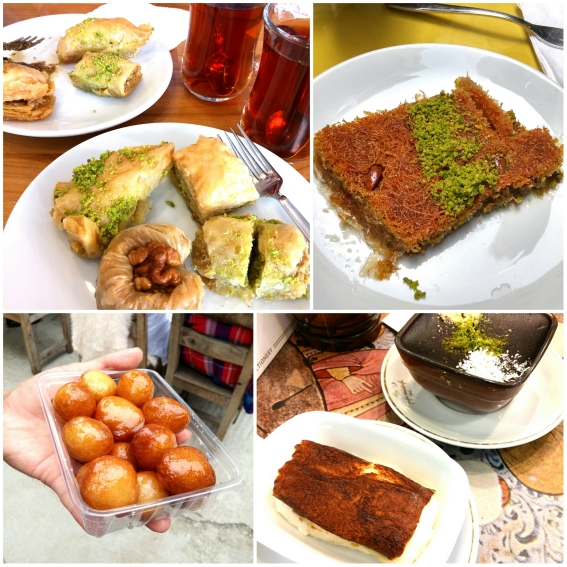Baklava, Tel Kadayif, Lokma, Tavuk Gogsu Kazandibi. So much sweetness in one photo! <3